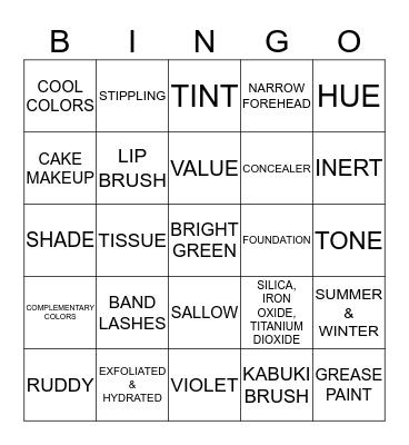 MAKE-UP Bingo Card