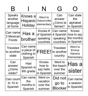 Bienvenidos a la clase de español Bingo Card