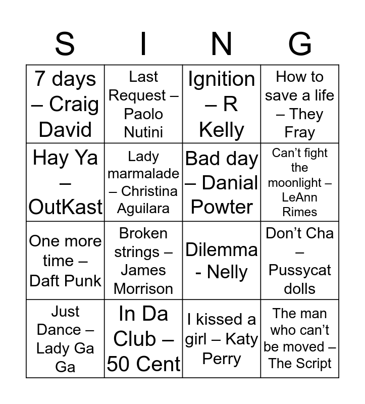 BEST HITS OF THE 2000s Bingo Card