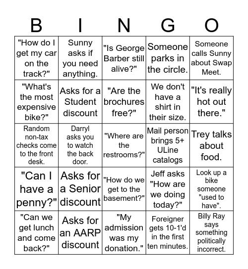 Barber Bingo Card