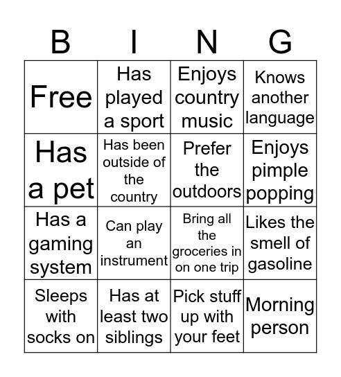 Who Are You? Bingo Card