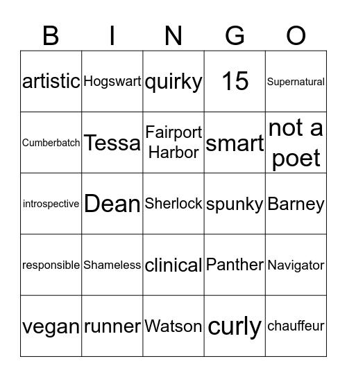 Tessa's totally legal Bingo Card