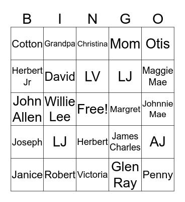 Johnson & McCowan Family Reunion Bingo Card