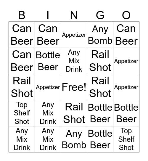 Boozy Bingo Card