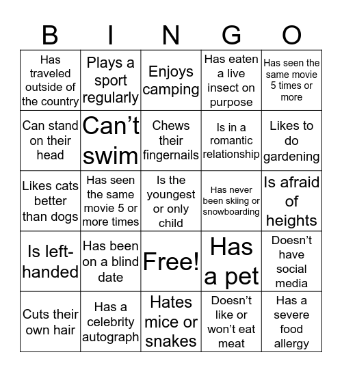 People Blackout Bingo Card