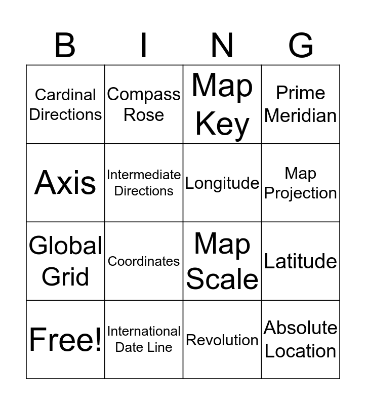 The Tools of Geography Bingo Card
