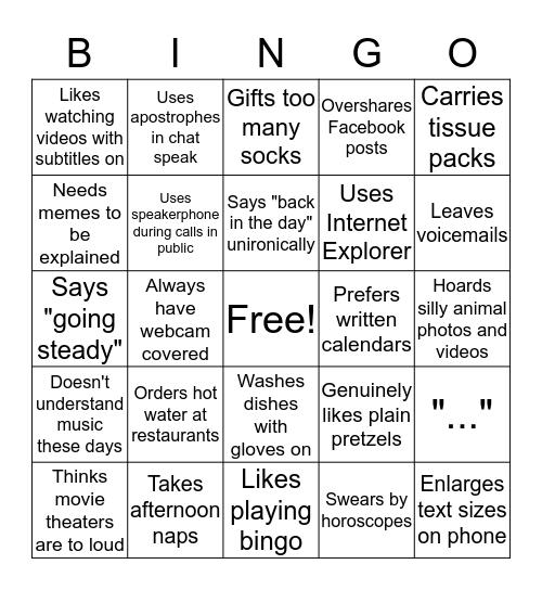 Granny Bingo Card