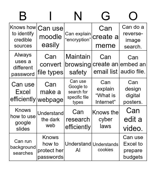 What I want to learn Bingo Card