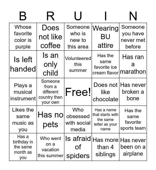 BRUIN Bingo Card