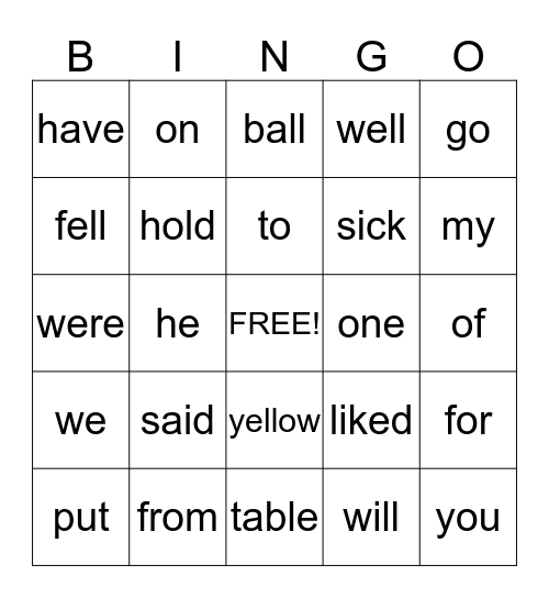 Primary Phonics Sightword Bingo Card