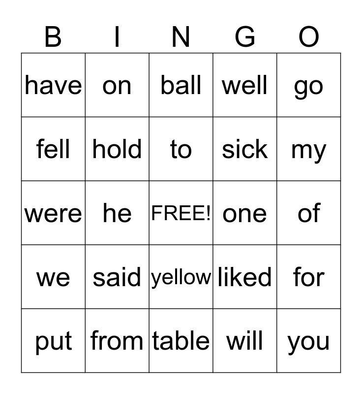 Primary Phonics Sightword Bingo Card
