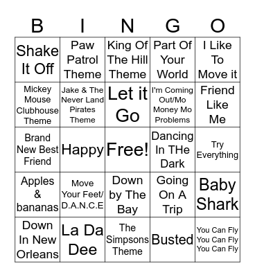 Kids Favorites Bingo Card