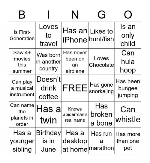 Get to Know You Bingo Card