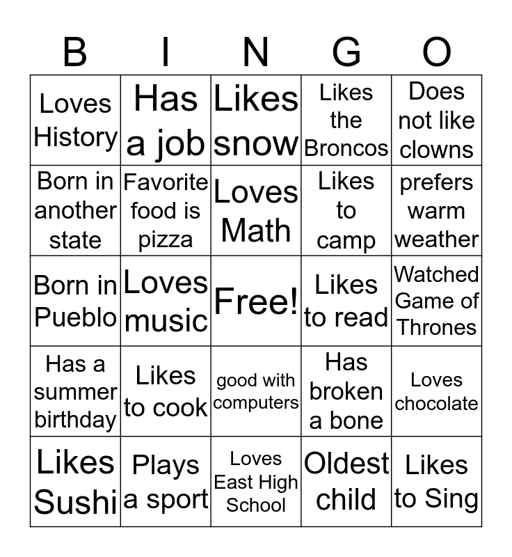 First Week Bingo Card