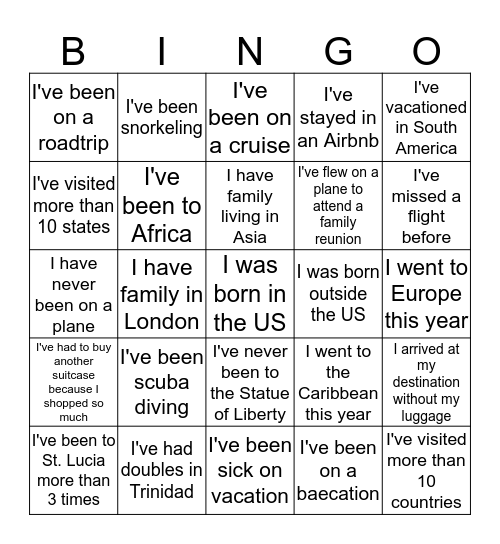 Travel Bingo!  Bingo Card