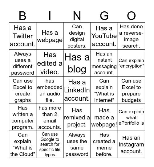 Now - Digital Literacy Habits Knowledge Bingo Card