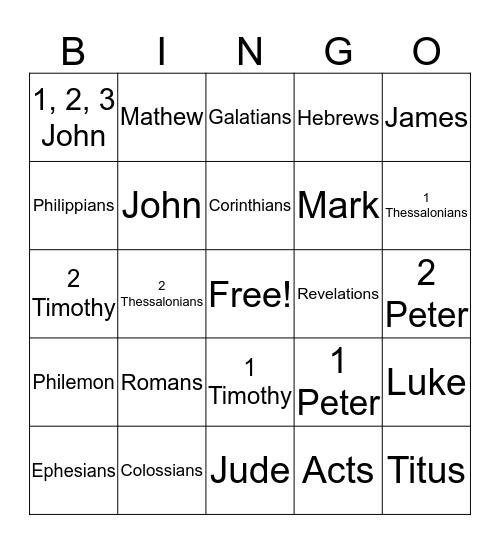 New Testament Bingo Card