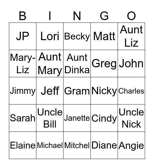 Guthier Family Bingo Card