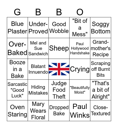 Great British Bake Off Bingo Card