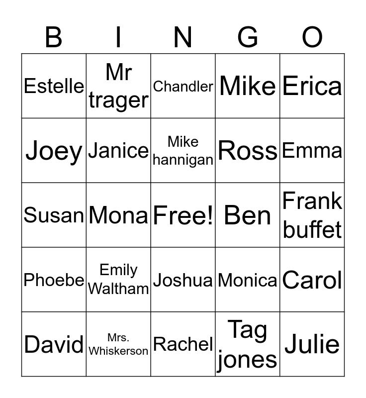 F.R.I.E.N.D.S Bingo Card