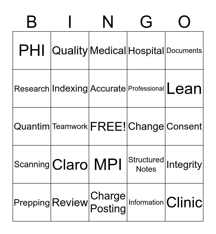 HIMS Bingo Card