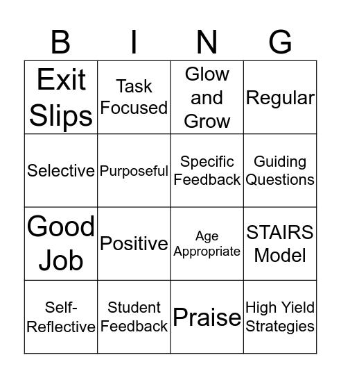 Feedback  Bingo Card