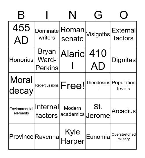 Visigoths Bingo Card