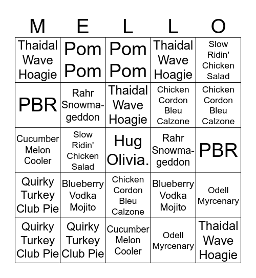 Homegrown LTO Bingo Card