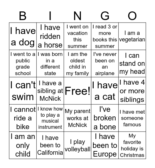 Getting To Know One Another Bingo Card