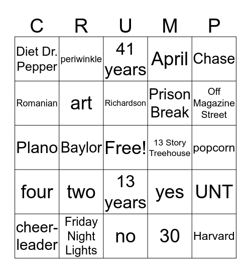 Getting to Know Ms. Crump Bingo Card