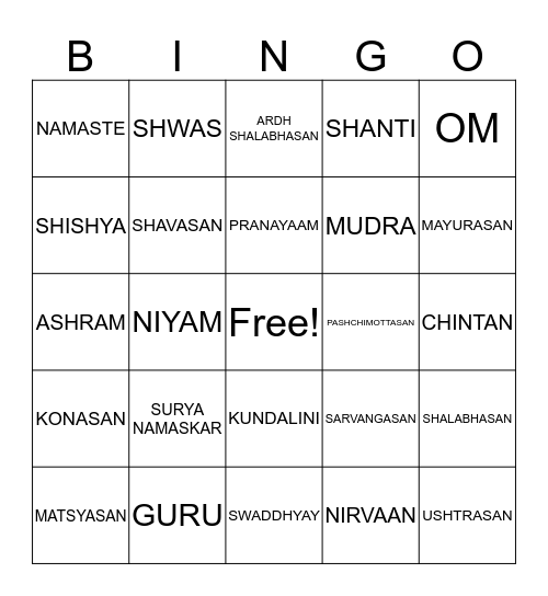 Yoga Bingo Card