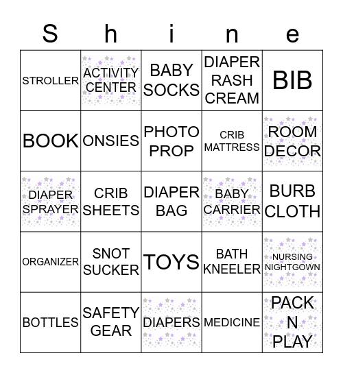 Baby Borgia's Baby Shower Bingo Card