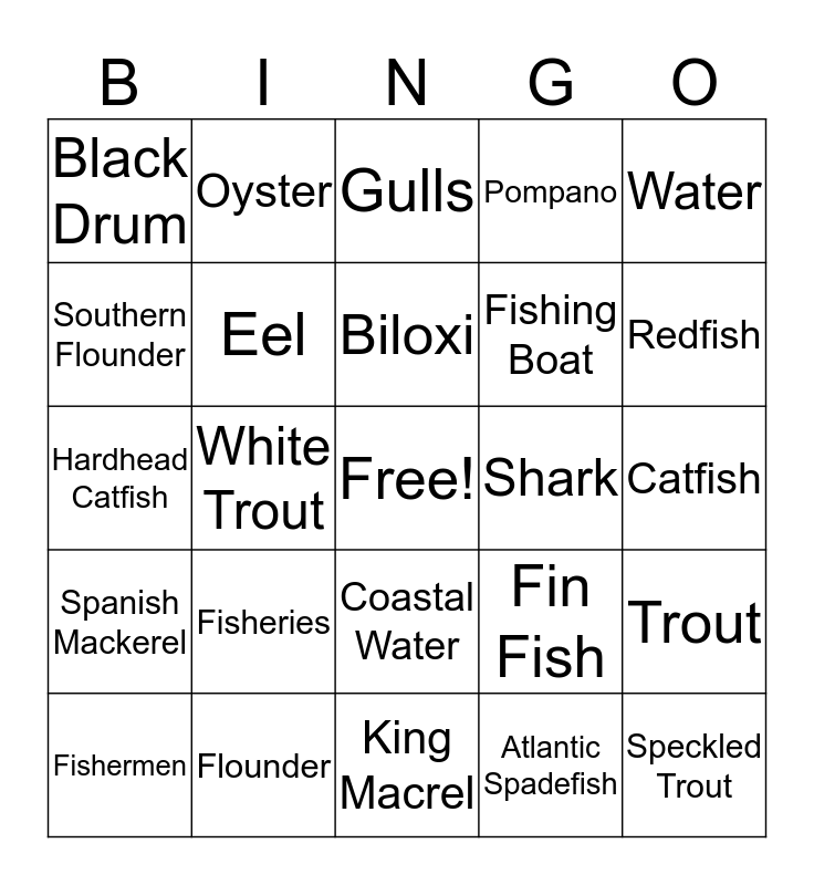 Biloxi Mississippi Fish Bingo Card