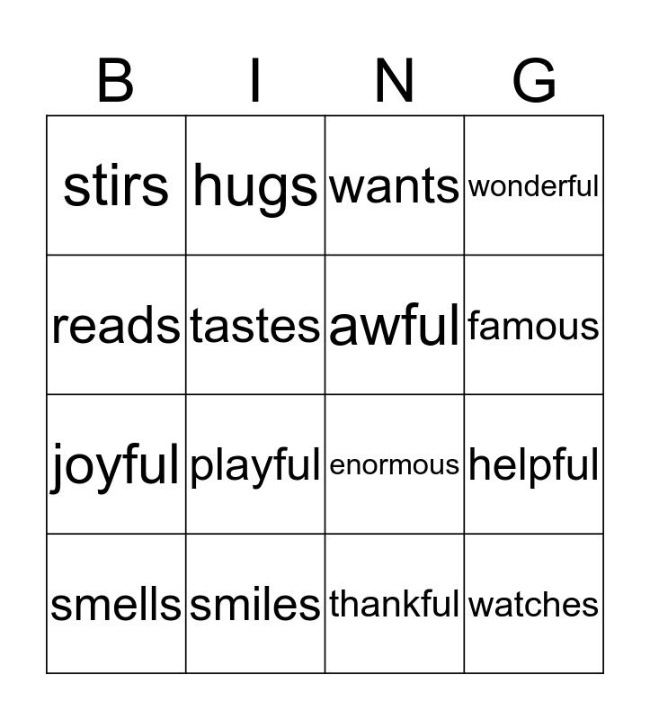 Unit 4 Bingo Card