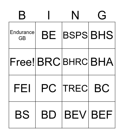 Equestrian Governing Bodies Bingo Card