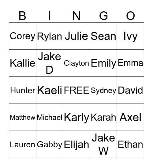 5th East Bingo Card