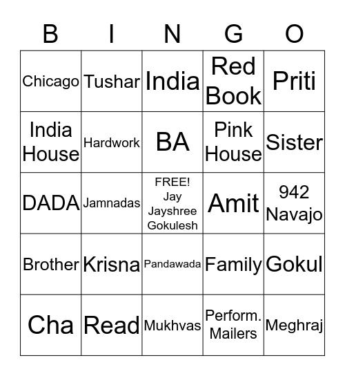 Vasu & Jayanti Bingo Game Bingo Card