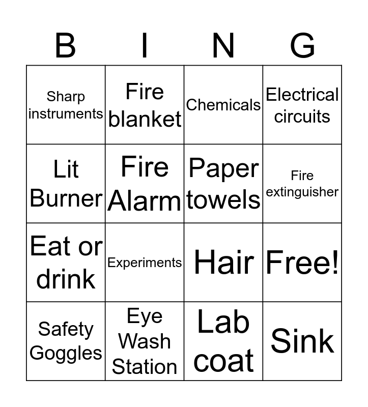 Science Safety Bingo Card