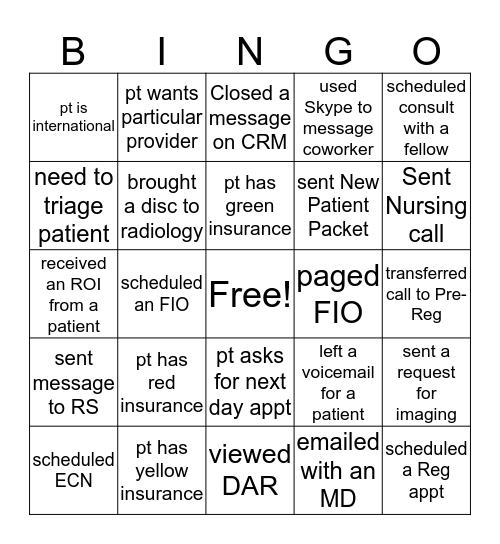 NPC Shadowing Bingo  Bingo Card