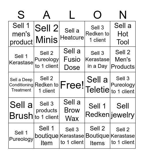 Downtown Salon Bingo Bash!! Bingo Card