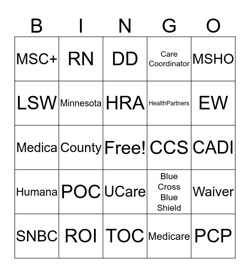 Care Coordination Bingo  Bingo Card