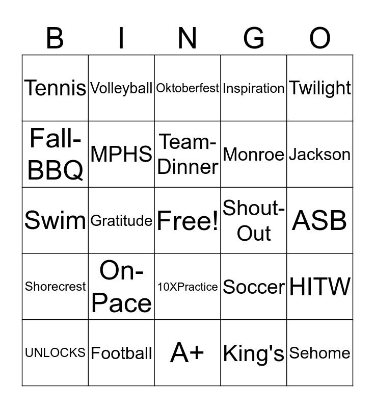 MPHS Cross Country 2019 Bingo Card