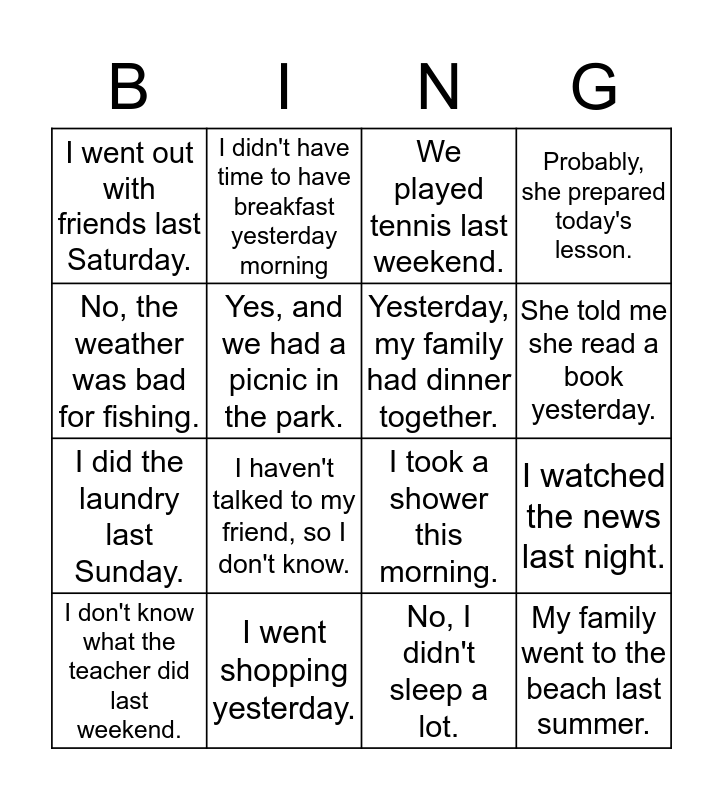 Past Tense Bingo Card