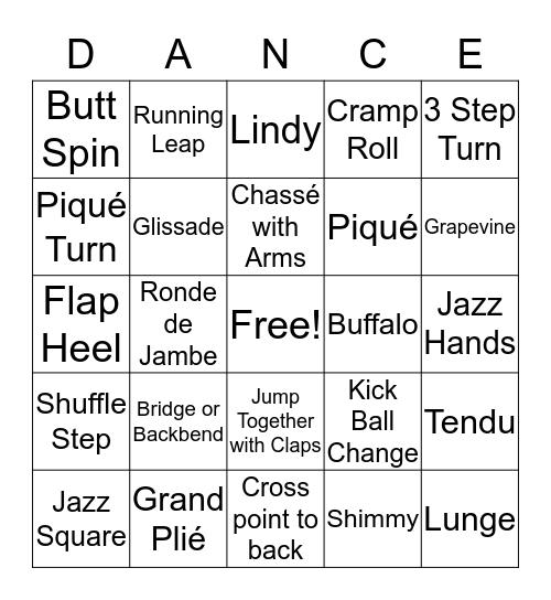 Dance Party Bingo Card