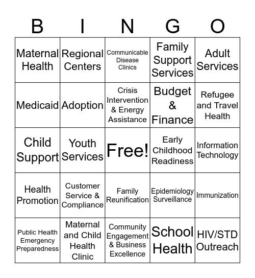 Human Services Division Bingo Card