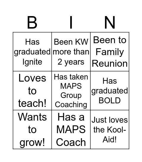 KW Family Bingo Card