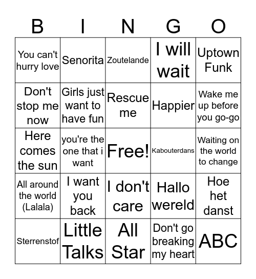 Muziekbingo 2019 Bingo Card