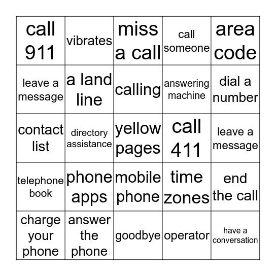 TELEPHONE Bingo Card