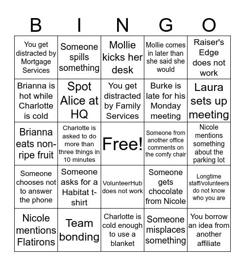 Volunteer Team Bingo Card