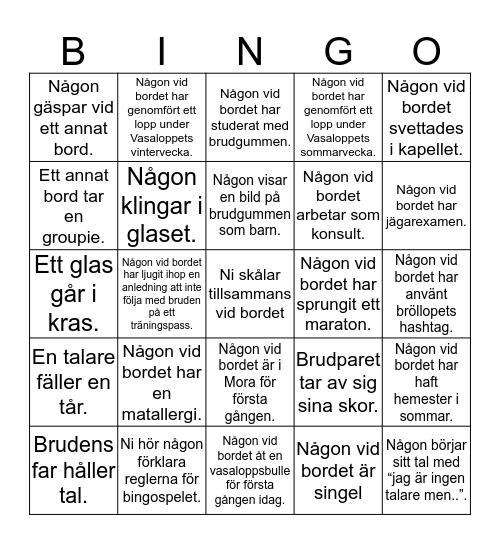 Bröllopsbingo #AnnaFilip2019 Bingo Card